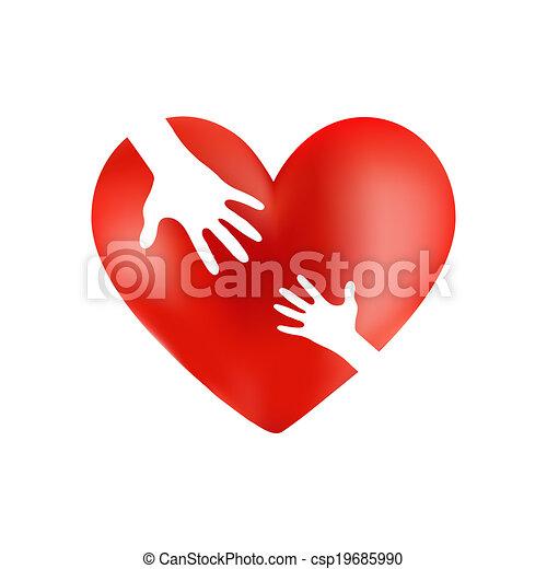 Cuidadosa mano en el corazón rojo - csp19685990