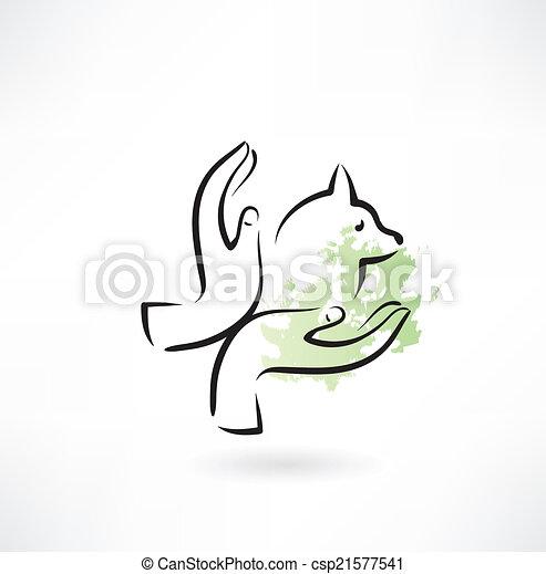 Cuidando de los animales, manos de icono - csp21577541