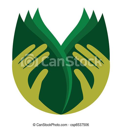 Cuidando las manos sosteniendo hojas. - csp6537506