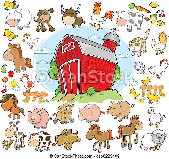 Los animales de granja diseñan vectores - csp8223409