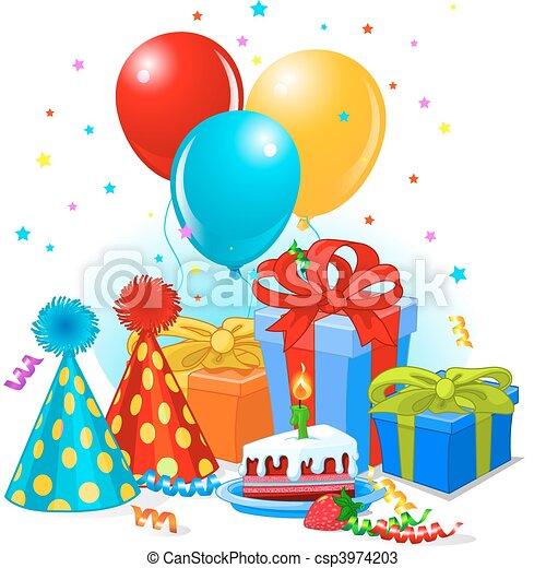 Regalos de cumpleaños y decoración - csp3974203