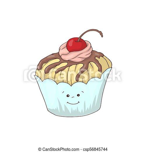 Curioso personaje de cupcake con relleno de crema rosa, ilustración de vectores de dibujos animados aislada en el fondo blanco. - csp56845744