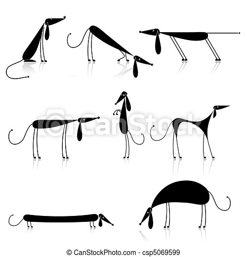 Curiosos perros negros silueta, colección para tu diseño - csp5069599