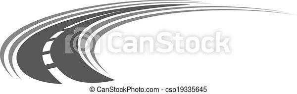 Curving Tarred Road o icono de carretera - csp19335645