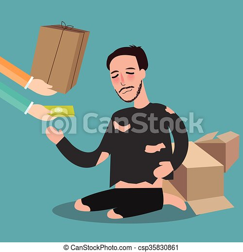Dándole dinero a los pobres de la junta de tarjetas vivientes mendigo zakat concepto compasión en el Islam - csp35830861