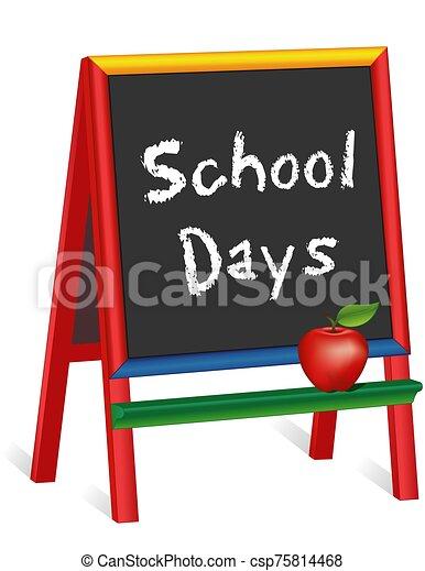días, caballete, manzana, maestro, pizarra, niños - csp75814468