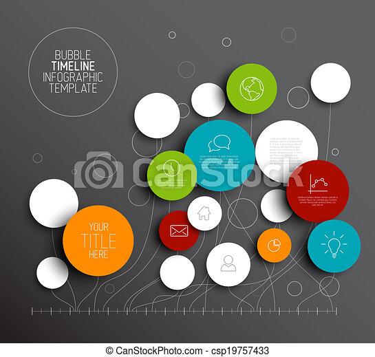 Dark Vector abstracto círculos plantilla infográfico - csp19757433