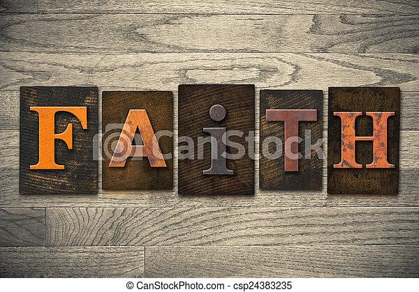 El concepto de fe, tipo de letra de madera - csp24383235