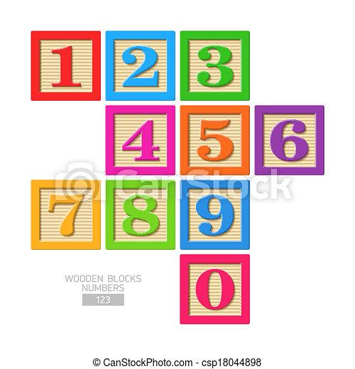 Números de bloque de madera - csp18044898