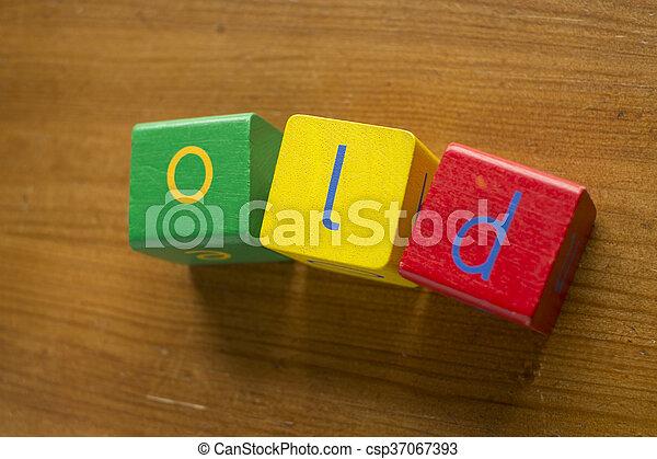 Bloques de madera coloridos que deletrean el - csp37067393