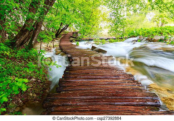 Pasillo de madera en el parque nacional en plitvice - csp27392884