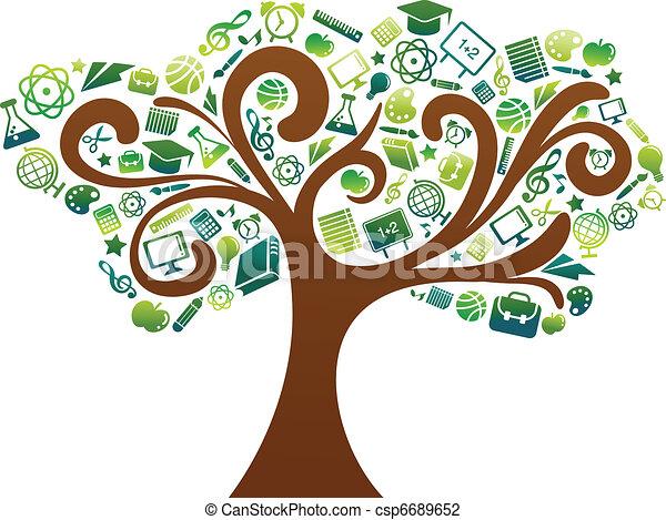 De vuelta a la escuela. Árbol con iconos educativos - csp6689652