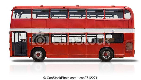 Autobús doble rojo en blanco - csp3712271