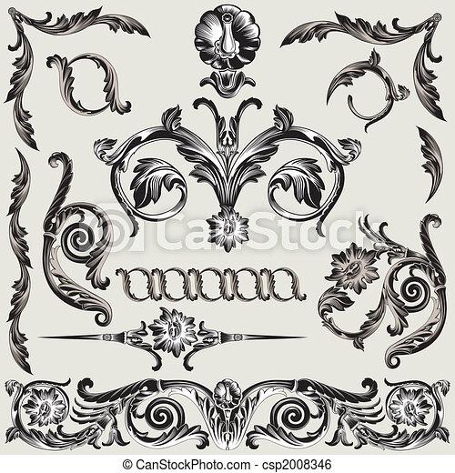 Un conjunto de elementos clásicos de decoración floral - csp2008346
