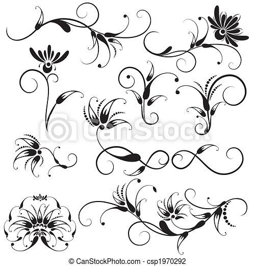 Decorativos diseño floral - csp1970292