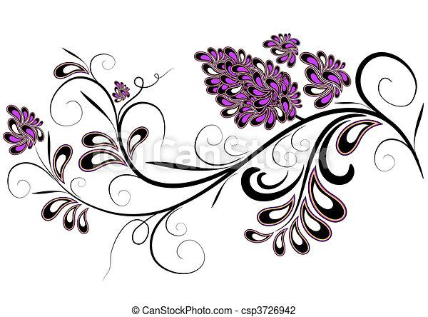 Rama decorativa con flor lila - csp3726942