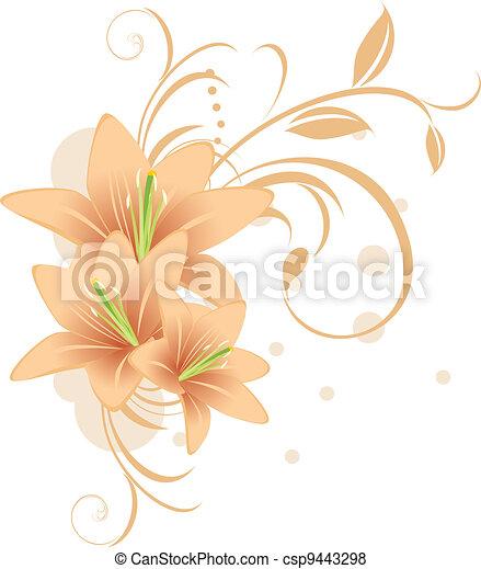 Lirios con adornos decorativos - csp9443298
