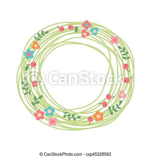Una corona floral decorativa. Nido de hierbas, flores y bayas. - csp45328562