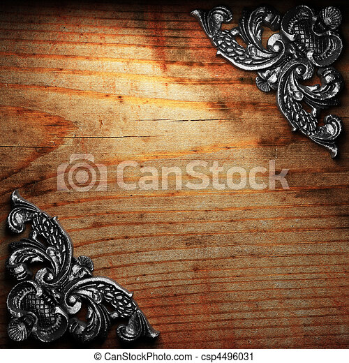 Decoro de hierro en la madera - csp4496031