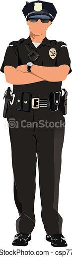 La mujer policía está mirando hacia adelante - csp7797405