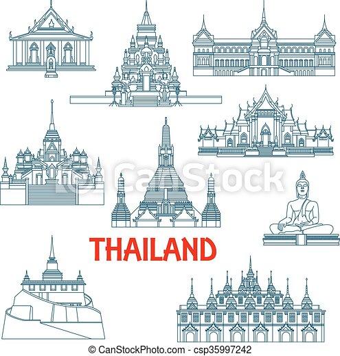 Los puntos de viaje tailandeses son iconos de delgada línea - csp35997242