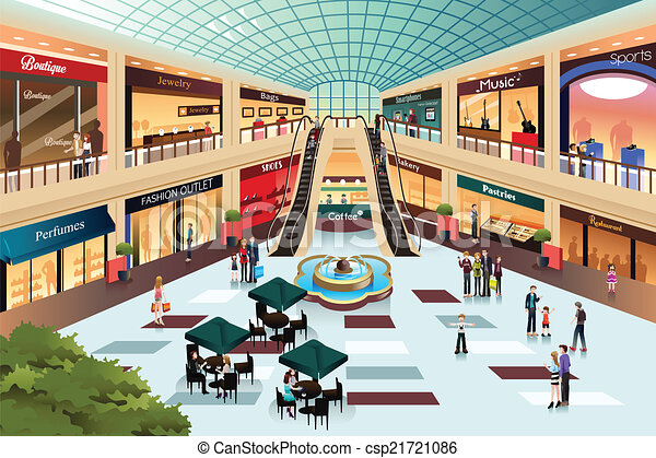 Escena dentro del centro comercial - csp21721086