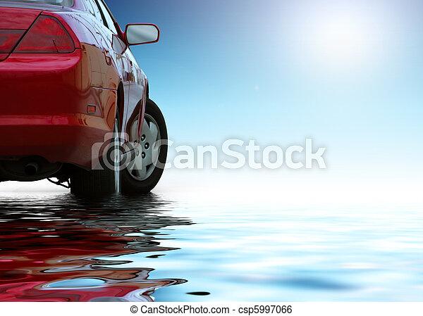 Un auto deportivo rojo aislado en un fondo limpio refleja en el agua. - csp5997066