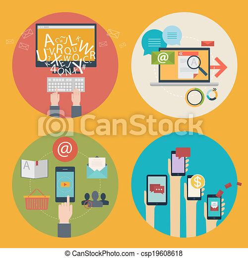 Vector conjunto de iconos de diseño plano para blogs, diseño web, seo, redes sociales. Conceptos de negocios: compras en línea, educación, educación, publicidad, desarrollo, comunicaciones, analíticos, servicios móviles y aplicaciones - csp19608618
