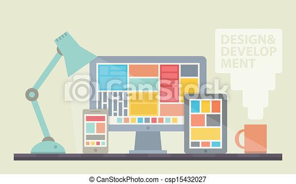Ilustración de desarrollo en Internet - csp15432027