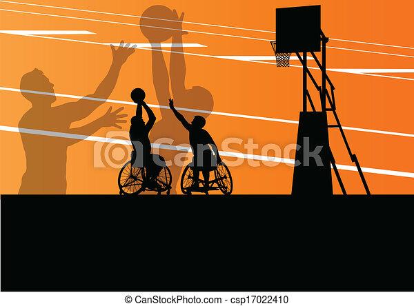Activos discapacitados jugadores de baloncesto en una silla de ruedas concepto deportivo detallado silueta vector de ilustración de fondo - csp17022410