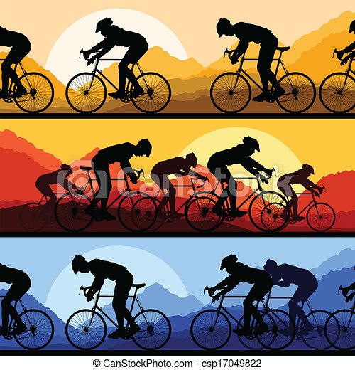Camioneros deportivos y bicicletas detalladas siluetas - csp17049822