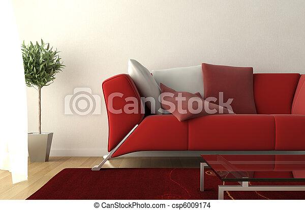 Diseño de interior moderno de la sala de estar - csp6009174