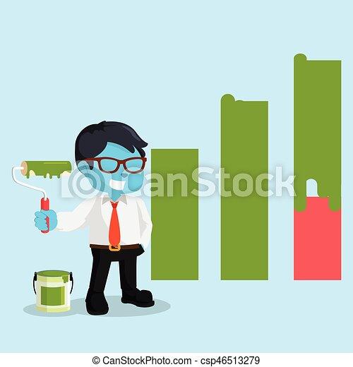 Un hombre de negocios pintando un diagrama gráfico - csp46513279