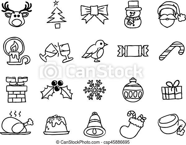 Un juego de iconos de mano de Navidad - csp45886695