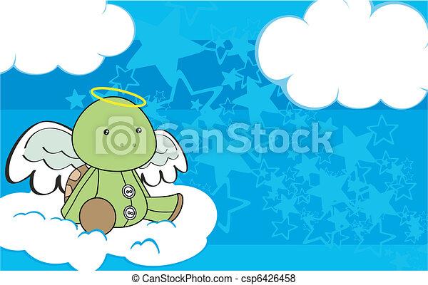 Dibujo animado del ángel de la tortuga en el espacio 3 - csp6426458