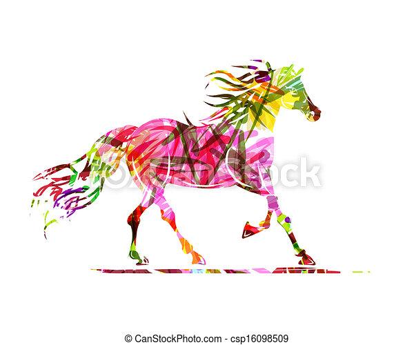 Dibujo de caballo con adornos florales para tu diseño. Simbolo del año 2014 - csp16098509