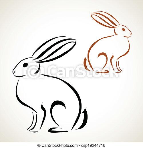 Dibujo de la línea del conejo - csp19244718