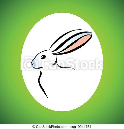 Dibujo de la línea del conejo - csp19244754