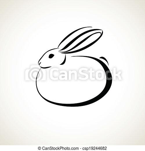 Dibujo de la línea del conejo - csp19244682