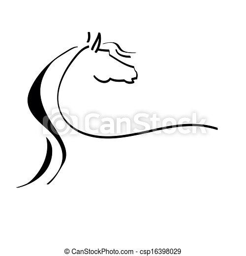 Dibujo estilizado de un caballo - csp16398029