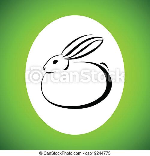 Dibujo de la línea del conejo - csp19244775