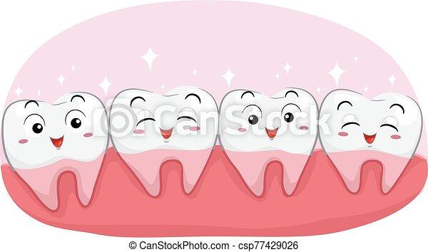 dientes, sano, ilustración, feliz - csp77429026