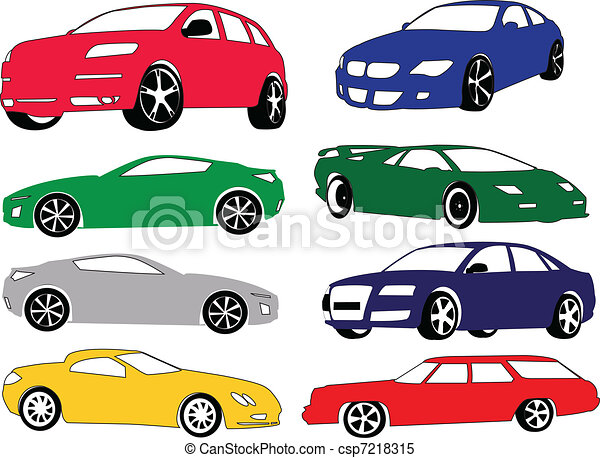 Una colección de coches de diferente color - csp7218315