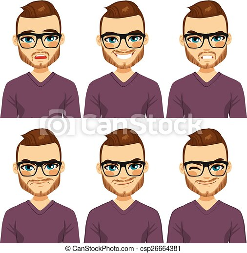 Hipster hombre diferentes expresiones - csp26664381