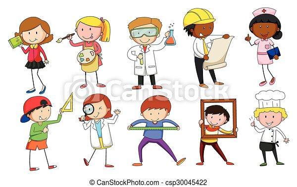 Mand y mujer en diferentes ocupaciones - csp30045422