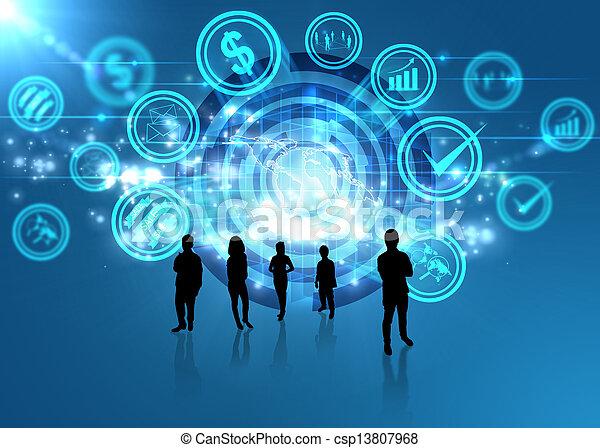 El mundo digital, el concepto de las redes sociales - csp13807968