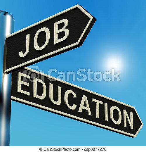 Dirección de trabajo o educación en un cartel - csp8077278