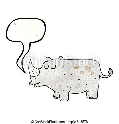 Un rinoceronte de dibujos animados texturados - csp34648578