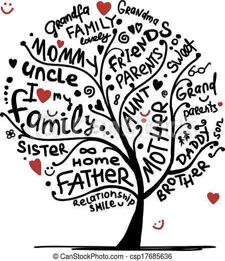 Dibujo de árbol familiar para tu diseño - csp17685636