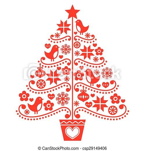 Diseño de árboles de Navidad, estilo popular - csp29149406